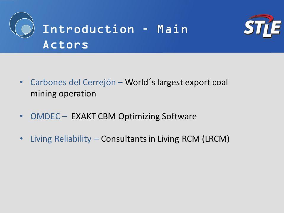 Introduction – Main Actors Carbones del Cerrejón – World´s largest export coal mining operation OMDEC – EXAKT CBM Optimizing Software Living Reliabili