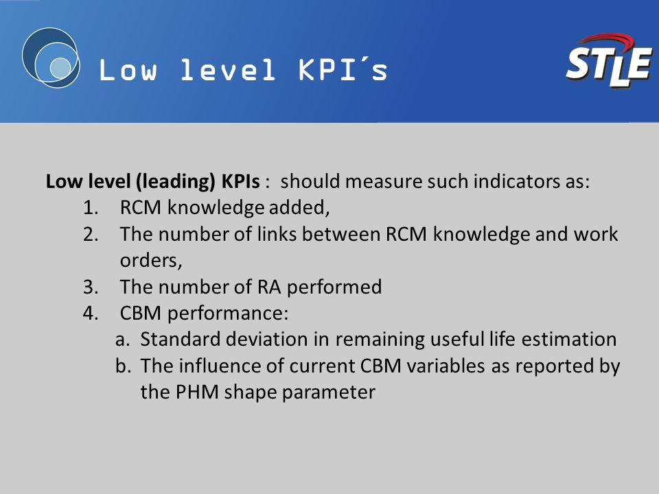 Low level KPI´s Low level (leading) KPIs : should measure such indicators as: 1.RCM knowledge added, The number of links between RCM knowledge and wor