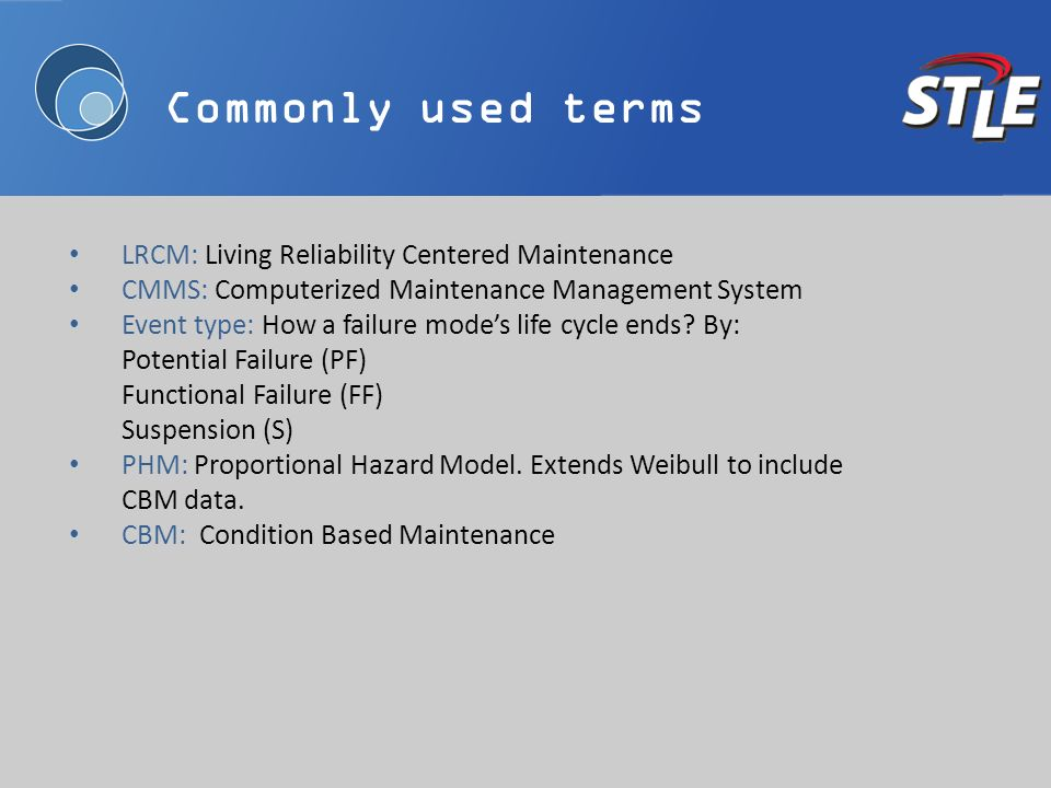 Commonly used terms LRCM: Living Reliability Centered Maintenance CMMS: Computerized Maintenance Management System Event type: How a failure modes life cycle ends.