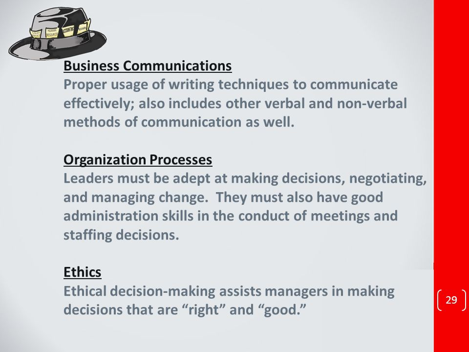 29 Business Communications Proper usage of writing techniques to communicate effectively; also includes other verbal and non-verbal methods of communi