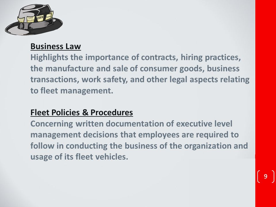 Business Law Highlights the importance of contracts, hiring practices, the manufacture and sale of consumer goods, business transactions, work safety,