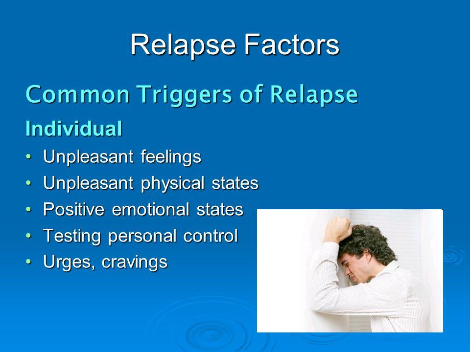 Relapse Factors Common Triggers of Relapse Individual Unpleasant feelingsUnpleasant feelings Unpleasant physical statesUnpleasant physical states Posi