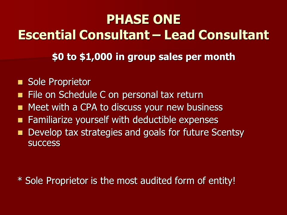 PHASE ONE Escential Consultant – Lead Consultant $0 to $1,000 in group sales per month Sole Proprietor Sole Proprietor File on Schedule C on personal tax return File on Schedule C on personal tax return Meet with a CPA to discuss your new business Meet with a CPA to discuss your new business Familiarize yourself with deductible expenses Familiarize yourself with deductible expenses Develop tax strategies and goals for future Scentsy success Develop tax strategies and goals for future Scentsy success * Sole Proprietor is the most audited form of entity!