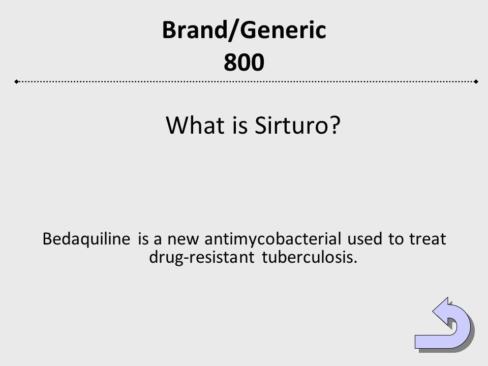 Brand/Generic 800 What is Sirturo? Bedaquiline is a new antimycobacterial used to treat drug-resistant tuberculosis.