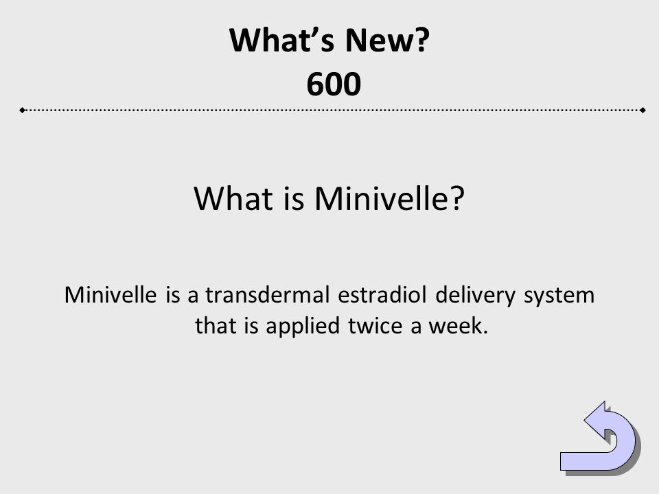 Whats New? 600 What is Minivelle? Minivelle is a transdermal estradiol delivery system that is applied twice a week.