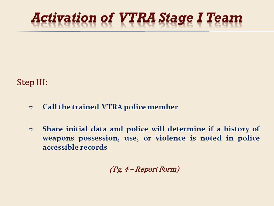 Step III: Call the trained VTRA police member Share initial data and police will determine if a history of weapons possession, use, or violence is not