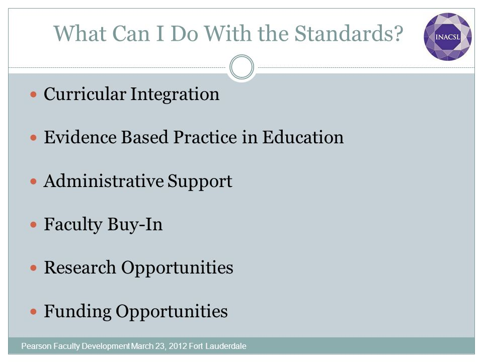 What Can I Do With the Standards? Curricular Integration Evidence Based Practice in Education Administrative Support Faculty Buy-In Research Opportuni