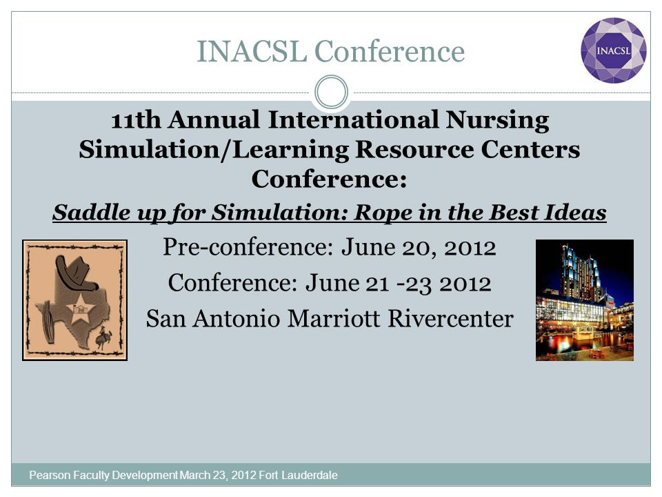 INACSL Conference 11th Annual International Nursing Simulation/Learning Resource Centers Conference: Saddle up for Simulation: Rope in the Best Ideas