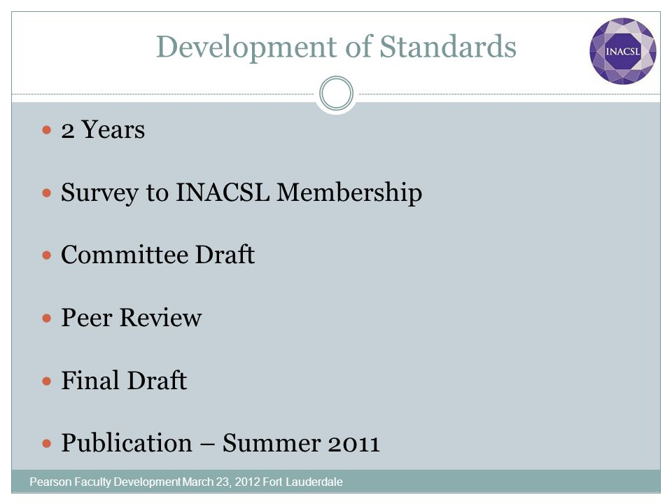 Development of Standards 2 Years Survey to INACSL Membership Committee Draft Peer Review Final Draft Publication – Summer 2011 Pearson Faculty Develop
