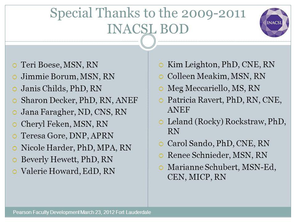 Special Thanks to the 2009-2011 INACSL BOD Teri Boese, MSN, RN Jimmie Borum, MSN, RN Janis Childs, PhD, RN Sharon Decker, PhD, RN, ANEF Jana Faragher,