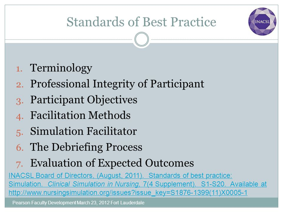 Standards of Best Practice 1. Terminology 2. Professional Integrity of Participant 3. Participant Objectives 4. Facilitation Methods 5. Simulation Fac
