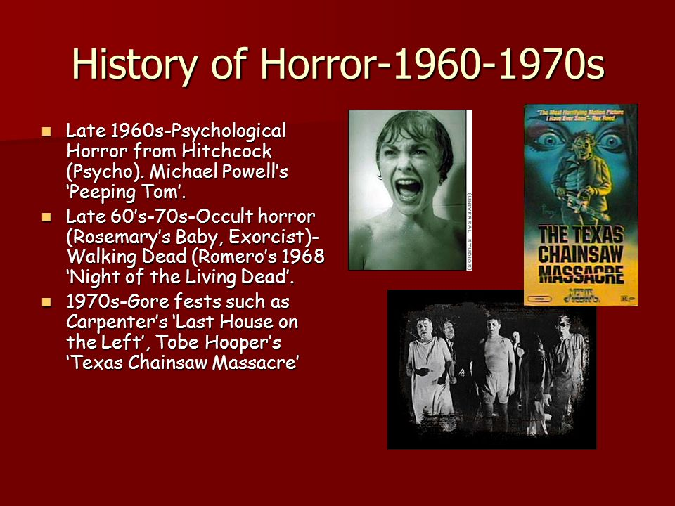 History of Horror-1960-1970s Late 1960s-Psychological Horror from Hitchcock (Psycho).