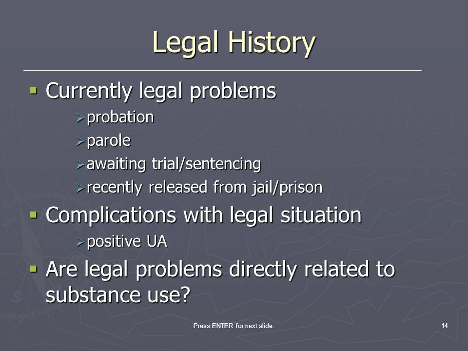 Press ENTER for next slide.14 Legal History Currently legal problems Currently legal problems probation probation parole parole awaiting trial/sentenc