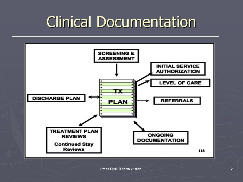 Press ENTER for next slide.2 Clinical Documentation
