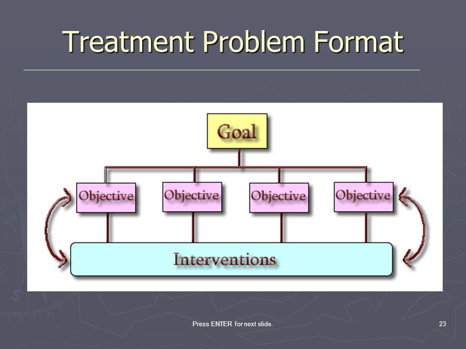 Press ENTER for next slide.23 Treatment Problem Format