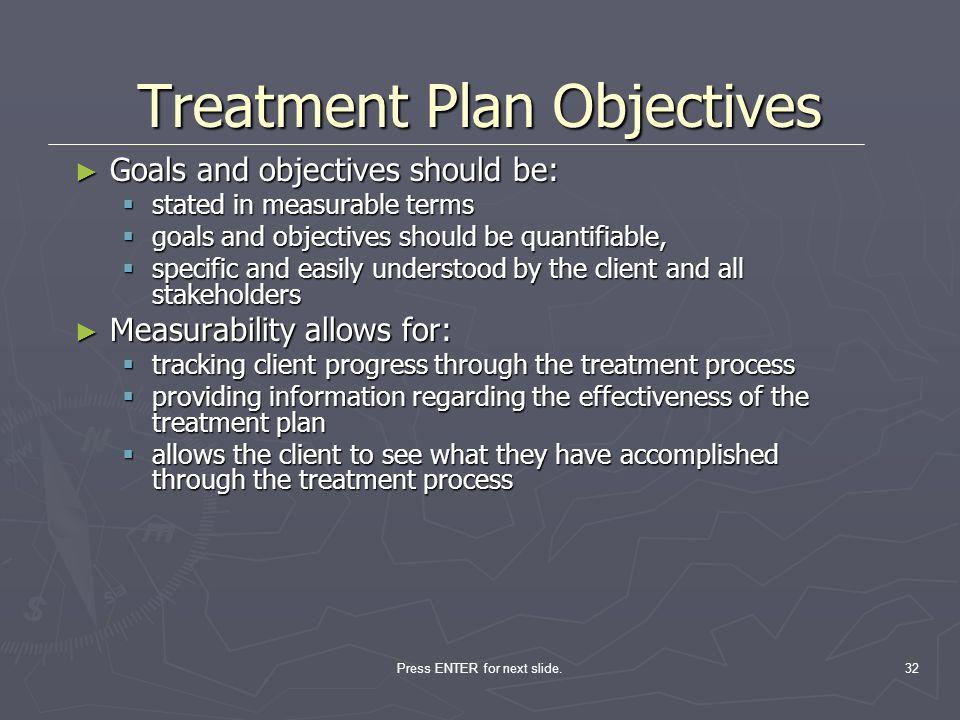 Press ENTER for next slide.32 Goals and objectives should be: Goals and objectives should be: stated in measurable terms stated in measurable terms go