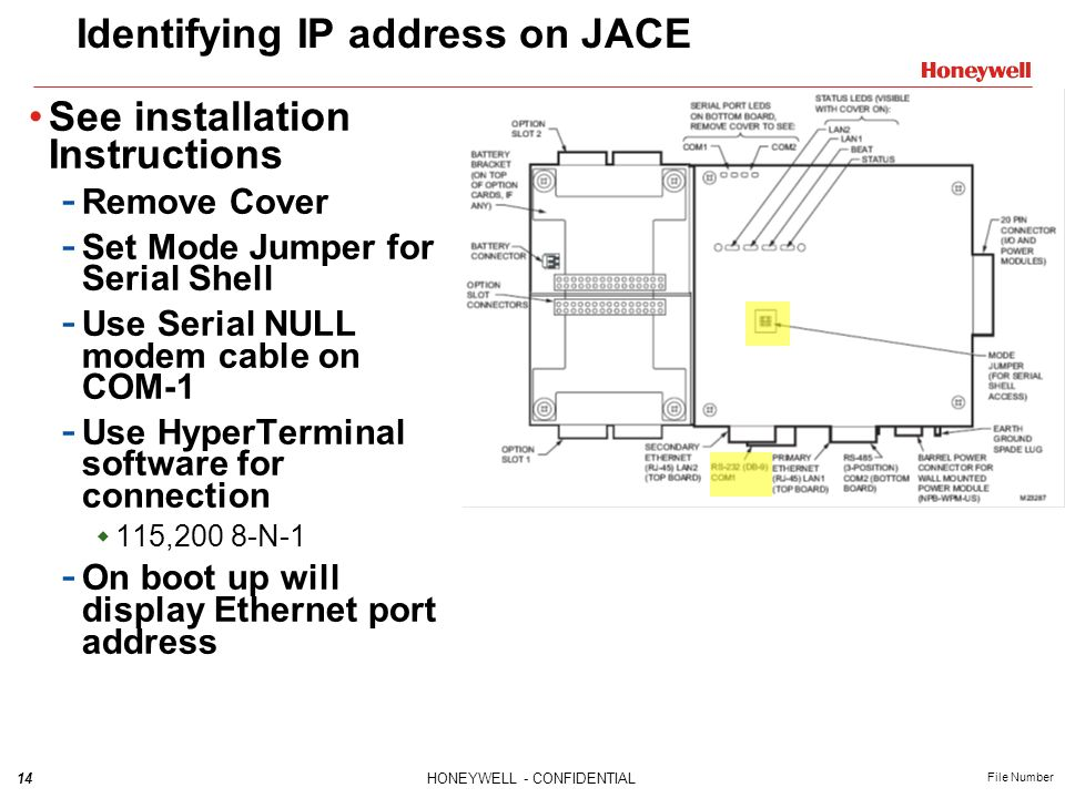 14HONEYWELL - CONFIDENTIAL File Number Identifying IP address on JACE See installation Instructions - Remove Cover - Set Mode Jumper for Serial Shell