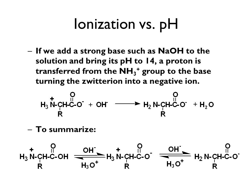 Ionization vs. pH –If we add a strong base such as NaOH to the solution and bring its pH to 14, a proton is transferred from the NH 3 + group to the b