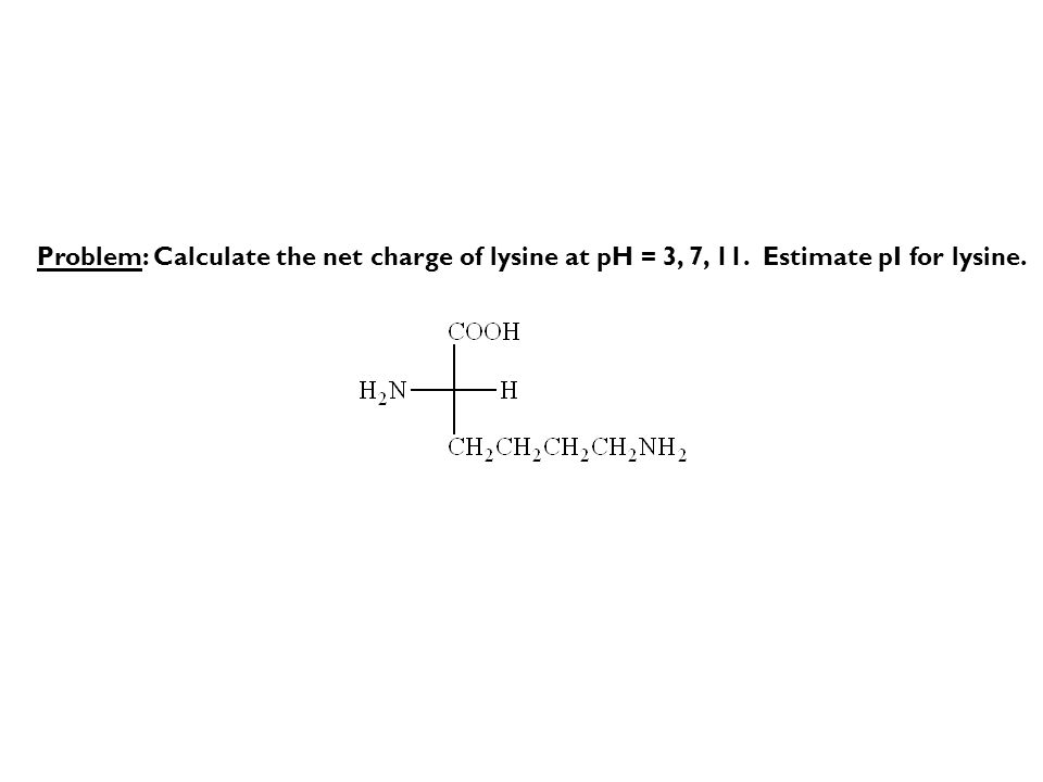 Problem: Calculate the net charge of lysine at pH = 3, 7, 11. Estimate pI for lysine.