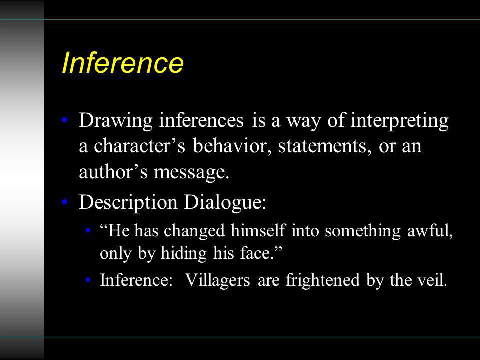 Inference Drawing inferences is a way of interpreting a characters behavior, statements, or an authors message. Description Dialogue: He has changed h