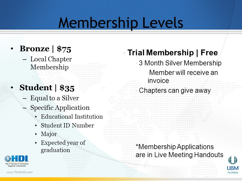 www.ThinkHDI.com Membership Levels Bronze | $75 – Local Chapter Membership Student | $35 – Equal to a Silver – Specific Application Educational Institution Student ID Number Major Expected year of graduation Trial Membership | Free 3 Month Silver Membership Member will receive an invoice Chapters can give away *Membership Applications are in Live Meeting Handouts