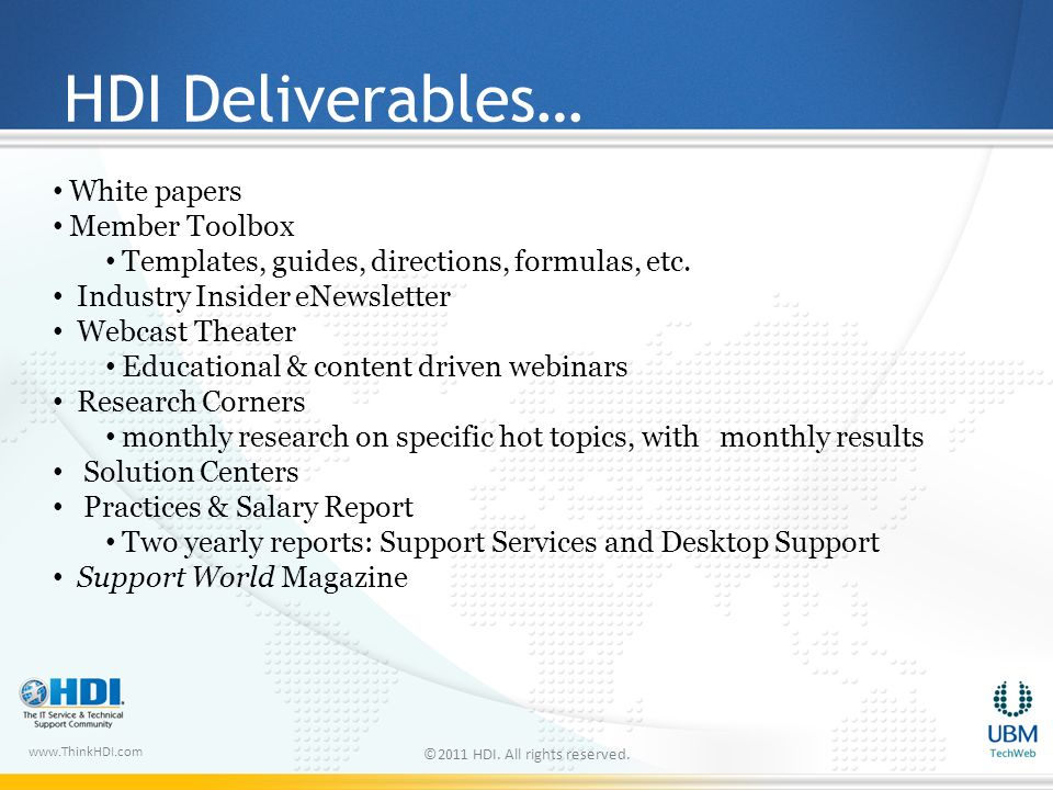 www.ThinkHDI.com HDI Deliverables… ©2011 HDI. All rights reserved.
