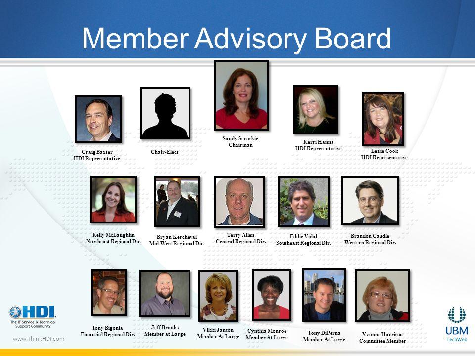 www.ThinkHDI.com Cynthia Monroe Member At Large Member Advisory Board Eddie Vidal Southeast Regional Dir. Terry Allen Central Regional Dir. Bryan Kerc
