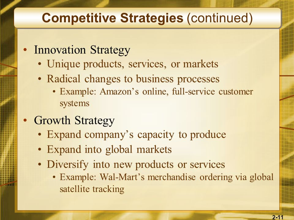 2-11 Innovation Strategy Unique products, services, or markets Radical changes to business processes Example: Amazons online, full-service customer sy