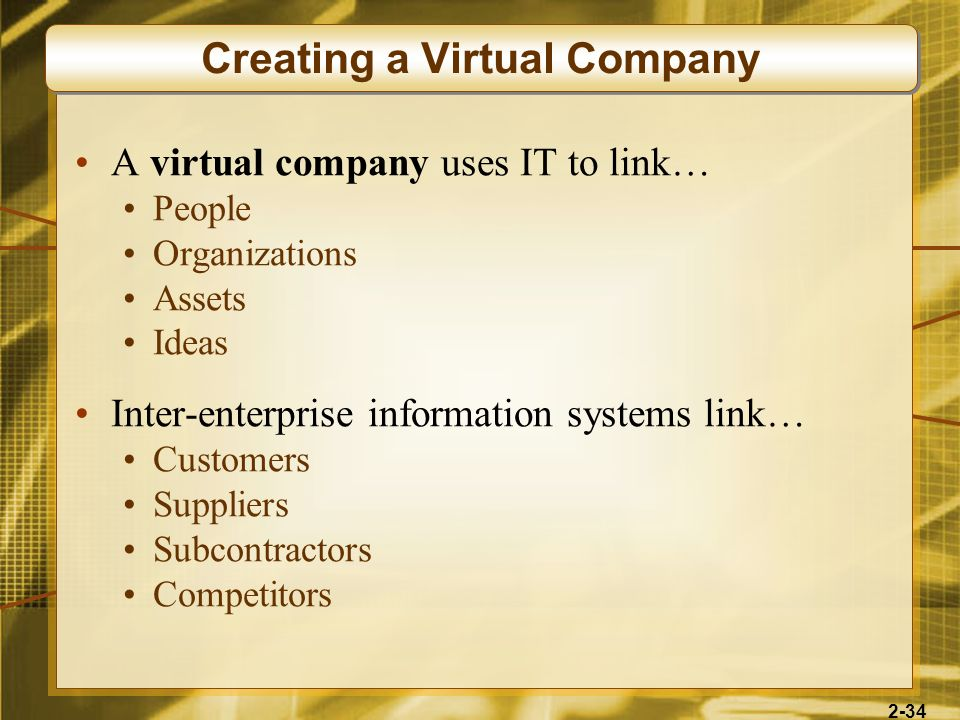 2-34 A virtual company uses IT to link… People Organizations Assets Ideas Inter-enterprise information systems link… Customers Suppliers Subcontractor