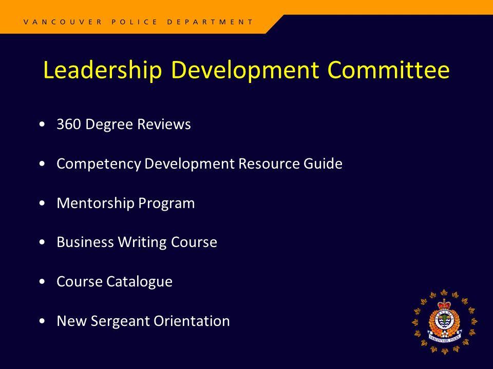 360 Degree Reviews Competency Development Resource Guide Mentorship Program Business Writing Course Course Catalogue New Sergeant Orientation