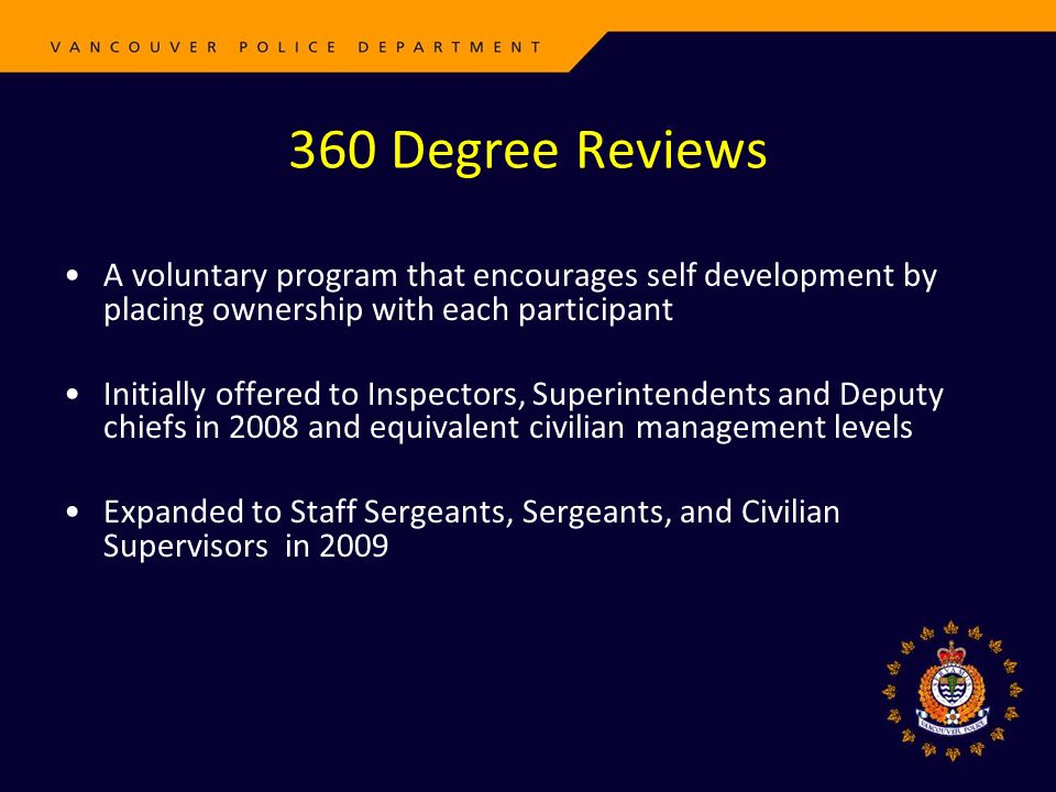 360 Degree Reviews A voluntary program that encourages self development by placing ownership with each participant Initially offered to Inspectors, Su