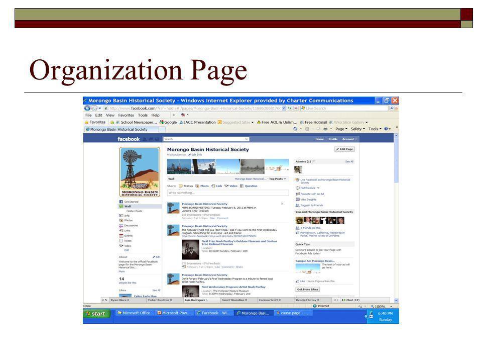 Organization Page