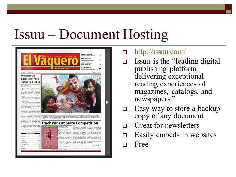 Issuu – Document Hosting   Issuu is the leading digital publishing platform delivering exceptional reading experiences of magazines, catalogs, and newspapers.