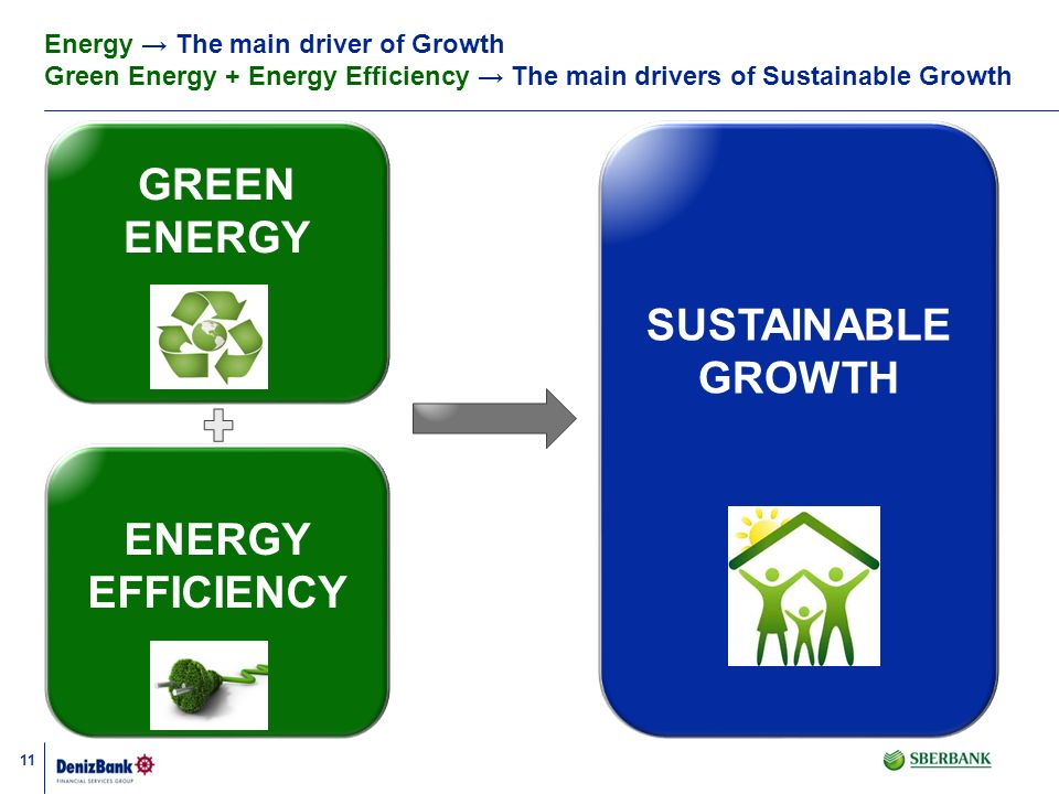 11 GREEN ENERGY SUSTAINABLE GROWTH ENERGY EFFICIENCY Energy The main driver of Growth Green Energy + Energy Efficiency The main drivers of Sustainable