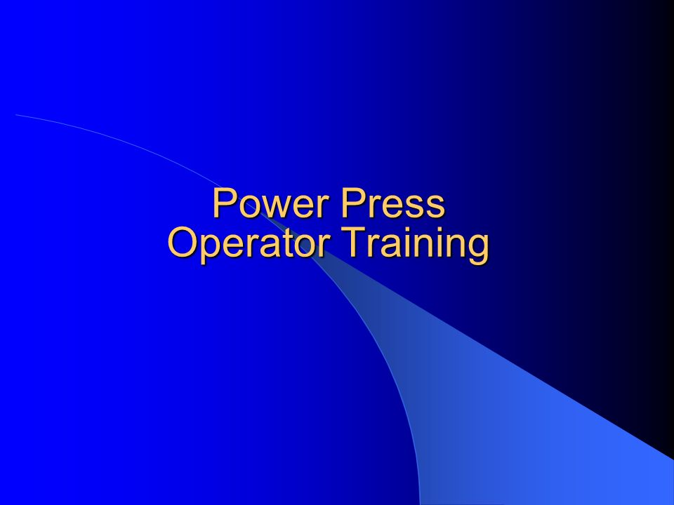 Power Press Operator Training