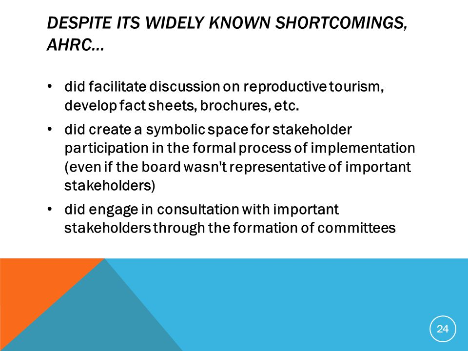 DESPITE ITS WIDELY KNOWN SHORTCOMINGS, AHRC... did facilitate discussion on reproductive tourism, develop fact sheets, brochures, etc. did create a sy