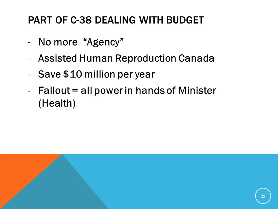 PART OF C-38 DEALING WITH BUDGET -No more Agency -Assisted Human Reproduction Canada -Save $10 million per year -Fallout = all power in hands of Minister (Health) 8