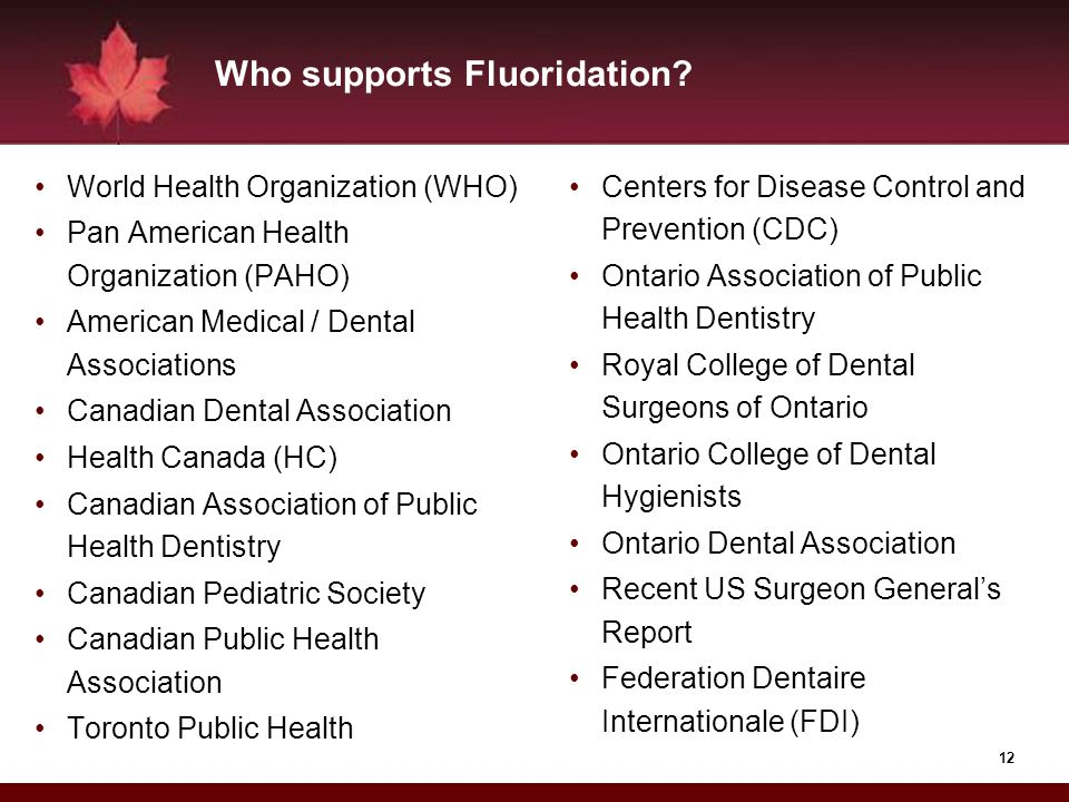 12 Who supports Fluoridation? World Health Organization (WHO) Pan American Health Organization (PAHO) American Medical / Dental Associations Canadian