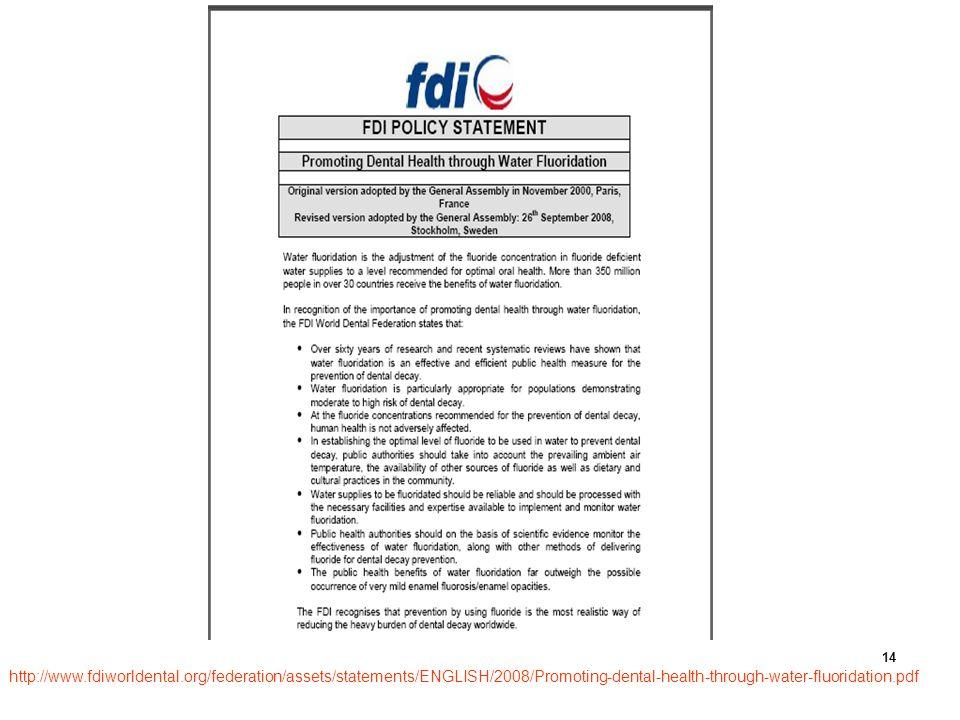 http:// www.fdiworldentaorg/federation/assets/statements/ENGLISH/2008/ Promoting-dental-health-through-water-fluoridation.pdf http://www.fdiworldental