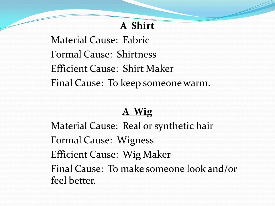 A Shirt Material Cause: Fabric Formal Cause: Shirtness Efficient Cause: Shirt Maker Final Cause: To keep someone warm. A Wig Material Cause: Real or s