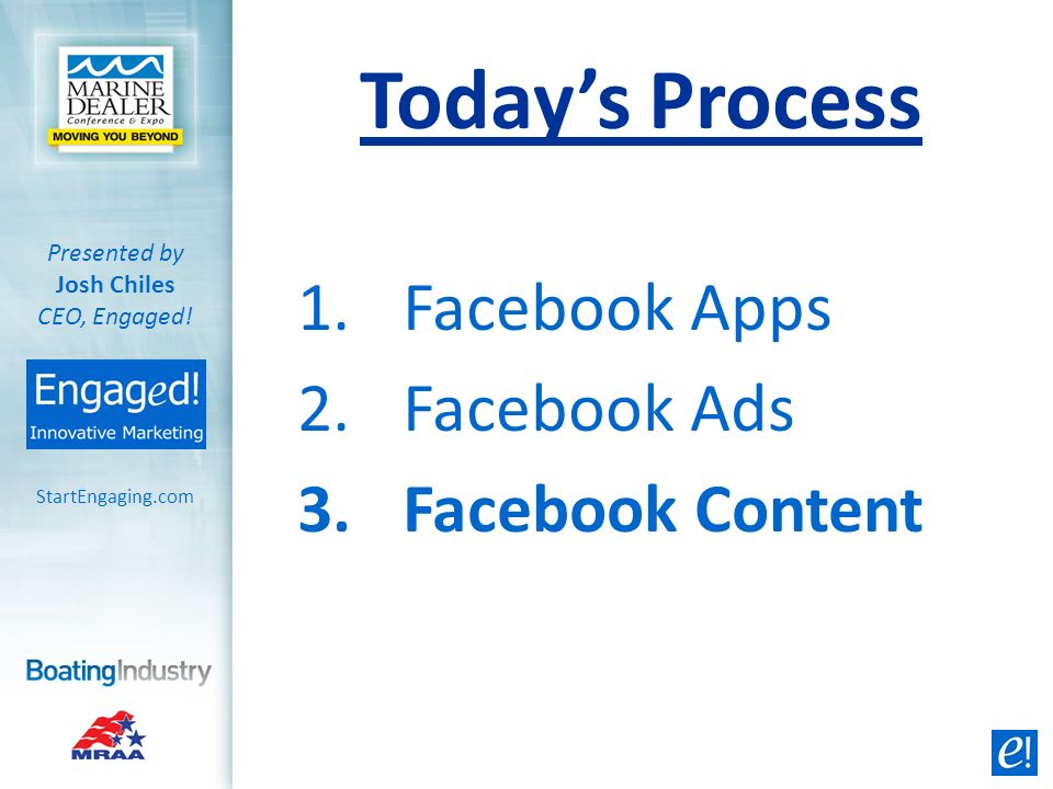 1.Facebook Apps 2.Facebook Ads 3.Facebook Content StartEngaging.com Presented by Josh Chiles CEO, Engaged! Todays Process
