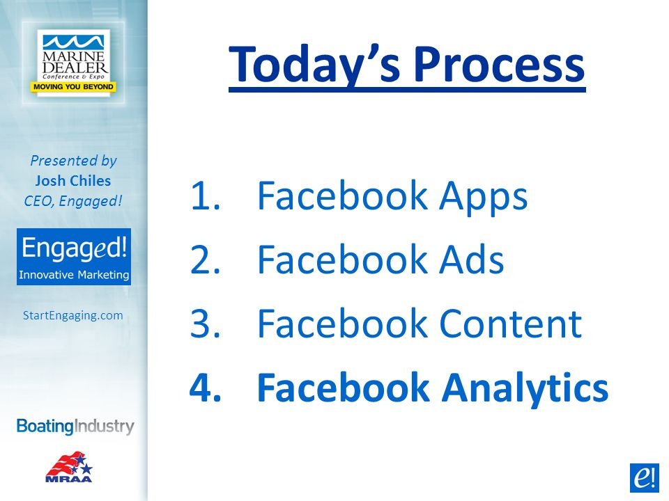 StartEngaging.com Presented by Josh Chiles CEO, Engaged! Facebook Apps Add your display name