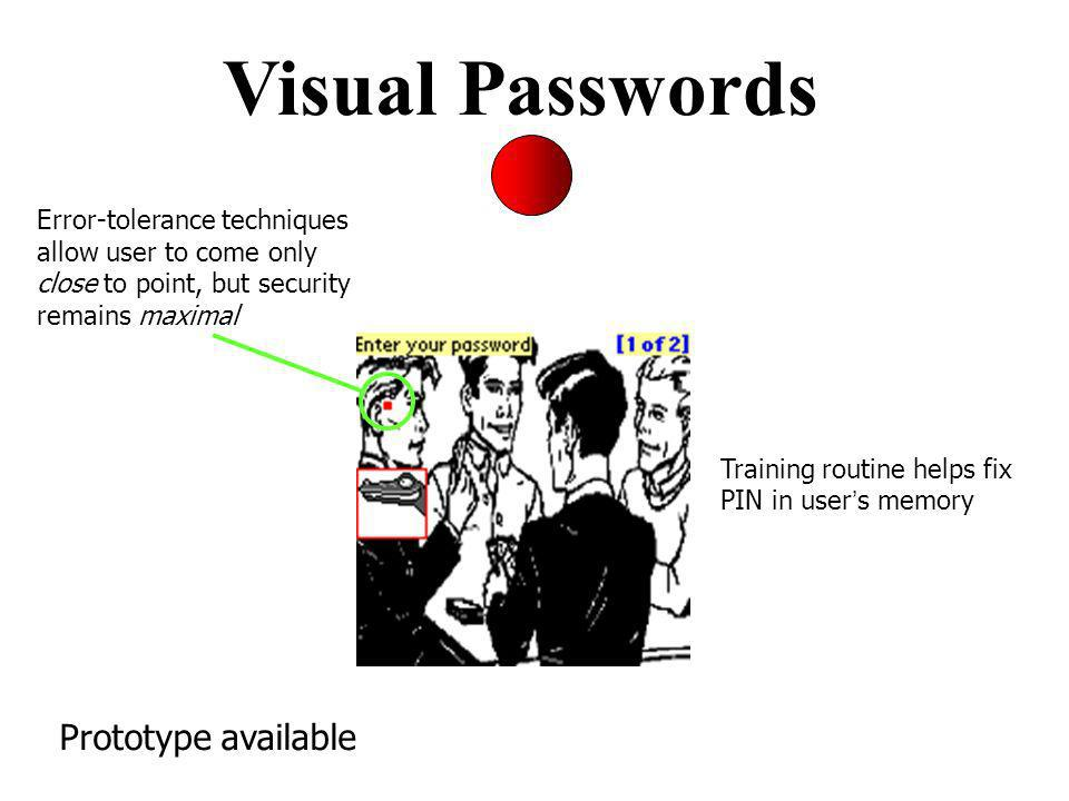 Visual Passwords Error-tolerance techniques allow user to come only close to point, but security remains maximal Training routine helps fix PIN in user s memory Prototype available