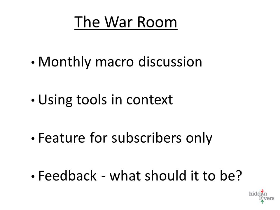 The War Room Monthly macro discussion Using tools in context Feature for subscribers only Feedback - what should it to be?