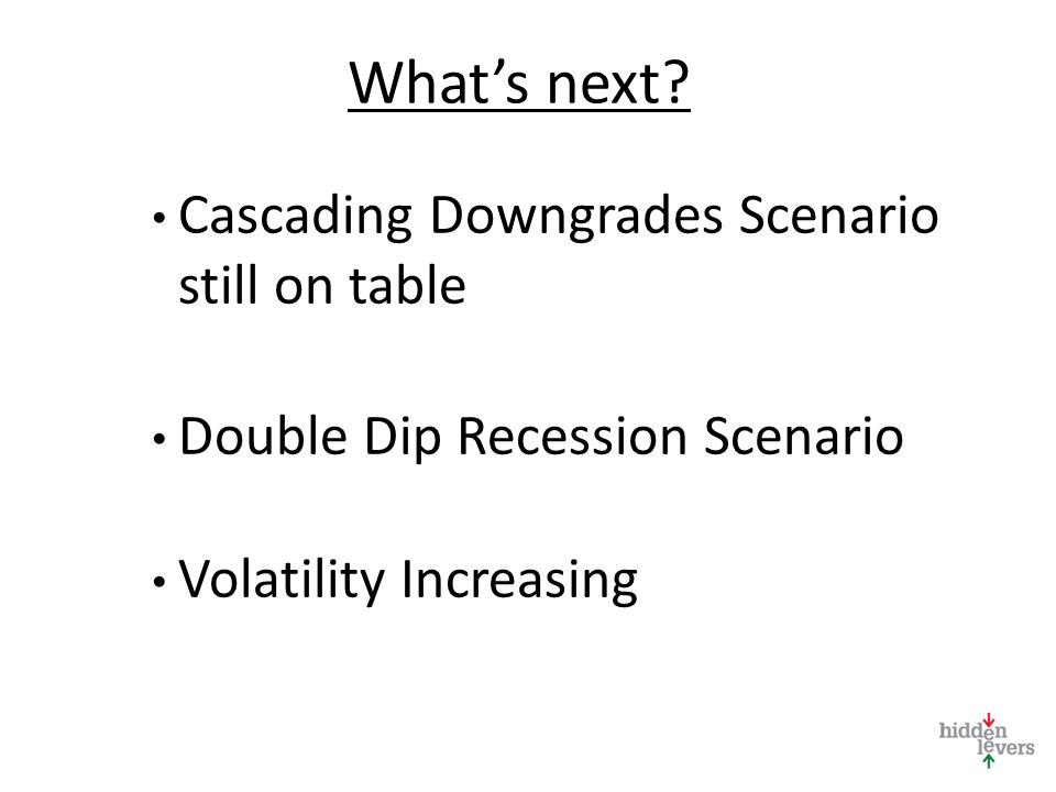 Whats next? Cascading Downgrades Scenario still on table Double Dip Recession Scenario Volatility Increasing