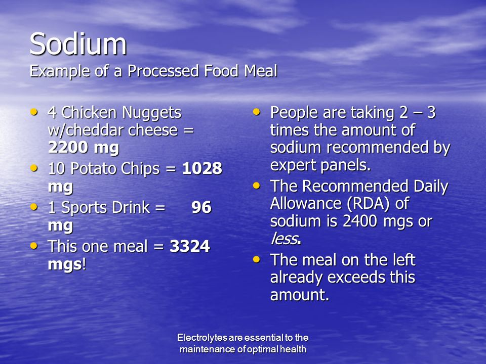 Electrolytes are essential to the maintenance of optimal health Sodium Example of a Processed Food Meal 4 Chicken Nuggets w/cheddar cheese = 2200 mg 4 Chicken Nuggets w/cheddar cheese = 2200 mg 10 Potato Chips = 1028 mg 10 Potato Chips = 1028 mg 1 Sports Drink = 96 mg 1 Sports Drink = 96 mg This one meal = 3324 mgs.