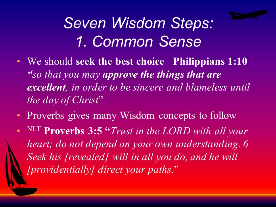 Seven Wisdom Steps: 1. Common Sense We should seek the best choice Philippians 1:10so that you may approve the things that are excellent, in order to