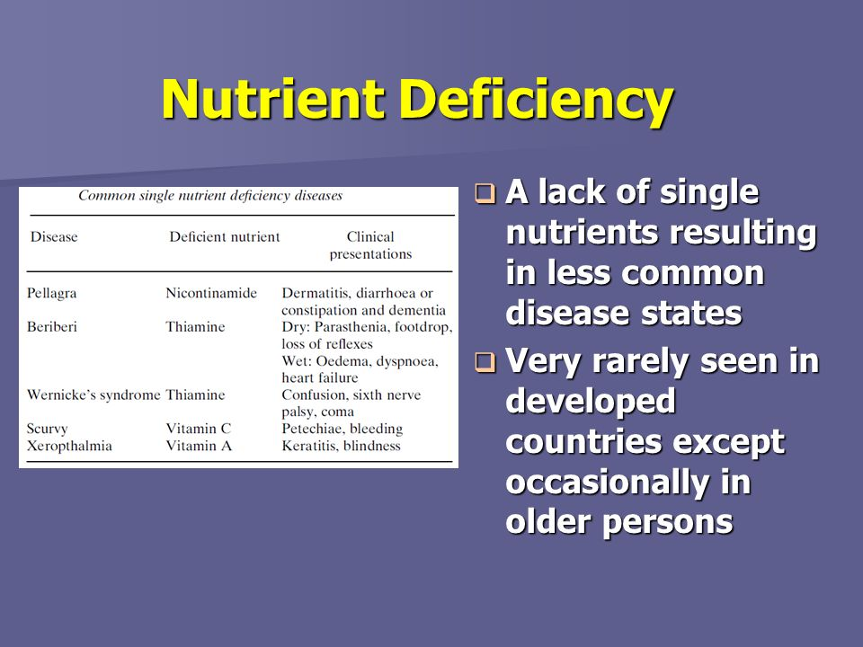 Nutrient Deficiency A lack of single nutrients resulting in less common disease states A lack of single nutrients resulting in less common disease sta