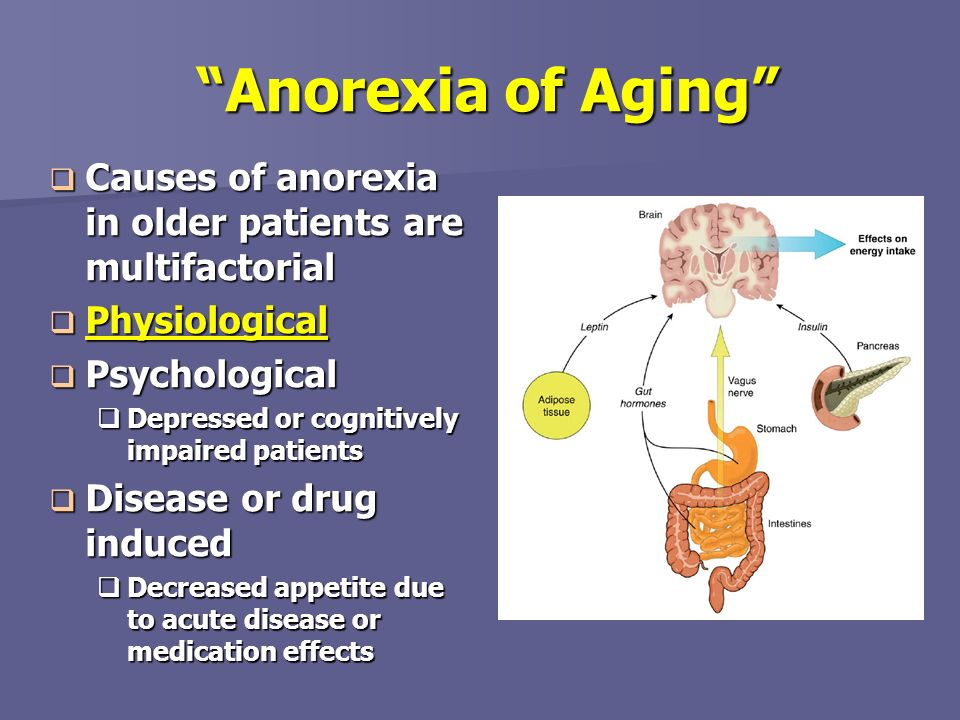 Anorexia of Aging Causes of anorexia in older patients are multifactorial Causes of anorexia in older patients are multifactorial Physiological Physio