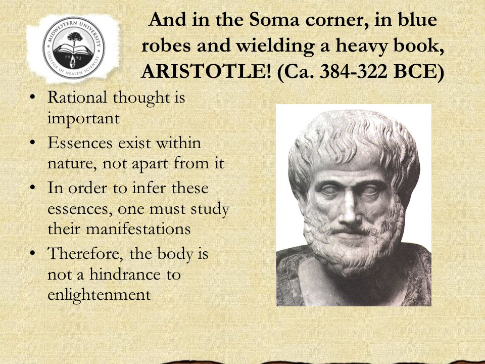 And in the Soma corner, in blue robes and wielding a heavy book, ARISTOTLE! (Ca. 384-322 BCE) Rational thought is important Essences exist within natu